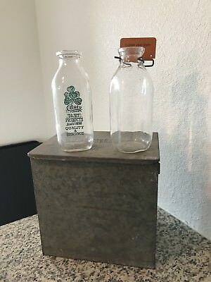 Rare Vintage Long  Meadow Farms Milk Dairy Box With Lid And Handle With Bottles