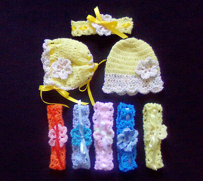 crocheted Mixed colors Baby or Doll Lot of 6 headbands Bonnet and Hat o-3 months