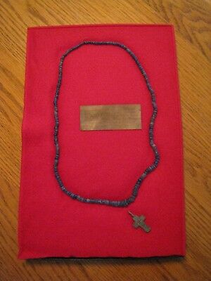Antique Russian Orthodox Byzantine Cross with Bead Necklace in Case