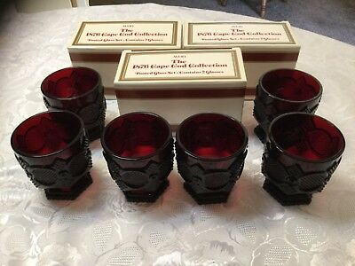 """Avon Cape Cod Ruby Red 3.75"""" Footed Tumbler Glasses Set Of 6"""