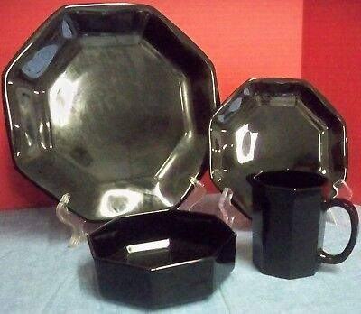 4 Pc Place Setting Octime Black Glass Dinnerware by Arcoroc Made in France VGUC