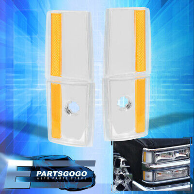 For 1988-1993 Chevy/Gmc C10 C/K 1500 2500 3500 Clear Amber Corner Lights Lamp