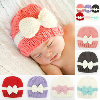 FX- Cute Newborn Baby Girl Infant Winter Hat Bowknot Warm Knitted Beanie Cap Nov