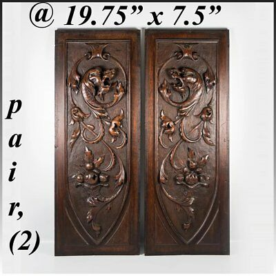 PAIR Antique Carved Wood Cabinet Panels, Neo-Renaissance Gothic Griffen, Chimera
