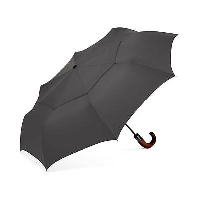$212 Shedrain Wood Handle Gray Auto Open Close Rain Folding Compact Umbrella