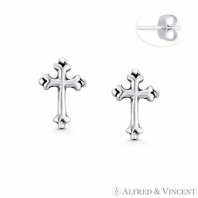 St. Thomas' Medieval Cross Charm Stud Earrings in Oxidized .925 Sterling Silver