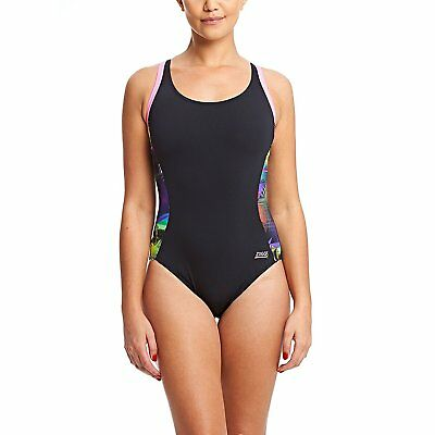 Zoggs Women Cable Highneck Swimming Costume Black Blue Chlorine