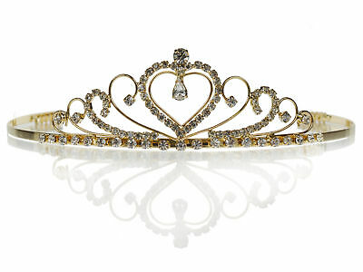 SC Bridal Wedding Prom Gold Tiara Crown With Crystal Heart 4220G6