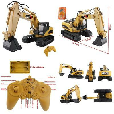 Remote-Controlled RC Excavator 15CH 2.4G Crawler Truck Toy w/ Lights & Sound