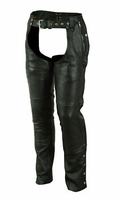 Motorcycle Chaps Unisex Double Deep Pocket Thermal Lined Biker Chaps DS478