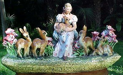 Huge Antique Majolica Double Jardinier Snow White and Baby Deer Bambi 1930, im10