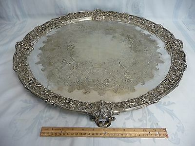 """Magnificent Antique 24"""" Sheffield England Ornate Footed Silver Plate Tray"""