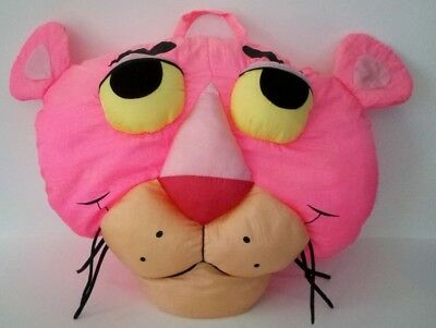 Vintage PINK PANTHER Soft Plush Stuffed Pillow Head Face Animal 17""