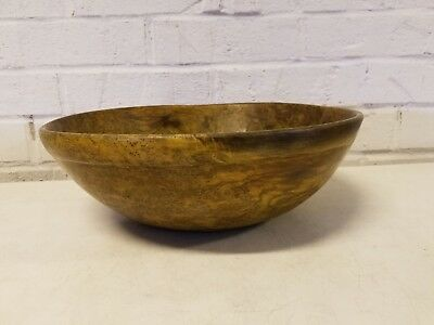 Antique American Ash Burl Wooden Bowl with Rimed Foot and Lip