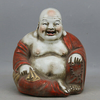 Chinese Old Marked Red Glazed Arhat Buddha Porcelain Statue