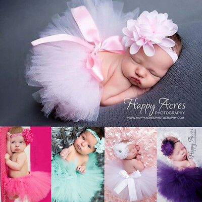 Newborn Baby Girl Headband+Mesh Tutu Skirt Costume Photo Photography Prop UK