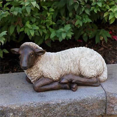 New Country Primitive Farmhouse Large Resting Lamb Sheep Figurine Statue 14""