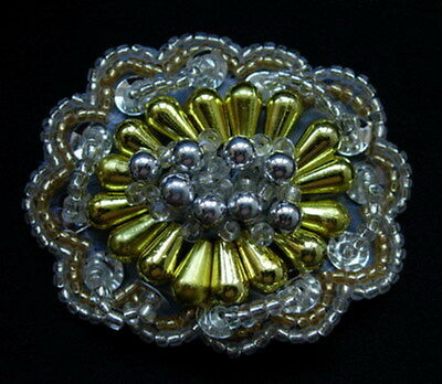 SB119-2 Vintage Style Beaded Jewelry Applique Motif Silver Gold Sew On