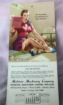 Vintage Ink Blotter - Midstate Machinery Co. Decatur, Ill  April 1953  Unused