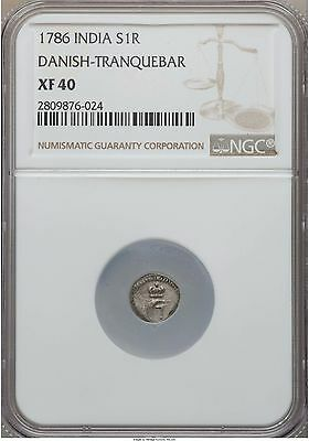 Danish India Tranquebar Frederik V Royaliner 1786 NGC XF40 SCARCE
