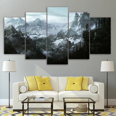 Framed Game Of Thrones Skyrim Mountain Scenery Canvas Print Painting Wall Art 5P