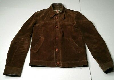 Vintage Great Things Heavy Duty Suede Leather Jacket Mens M Tall Brown Canada