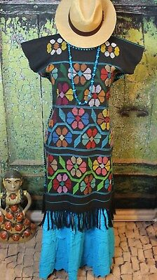 Big Flower Multi-Color Huipil Fringe Cotzocon Oaxaca Mexico Hippie Boho Cowgirl