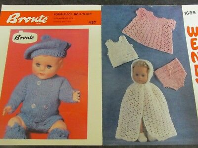 Dolls Clothes Knitting Pattern For 1214 Doll In Very Good