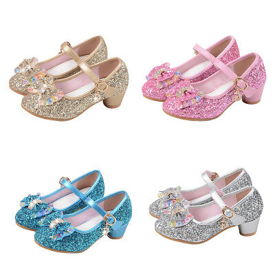 FX- Kids Girls Bowknot Shiny Sequins Princess Shoes Hight Heels Party Dance Nove