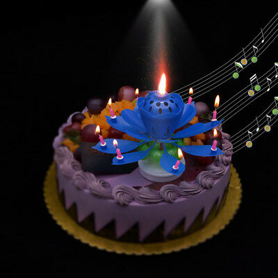 Lotus Candle Birthday Flower Musical Rotating Floral Cake Candles Music CMX