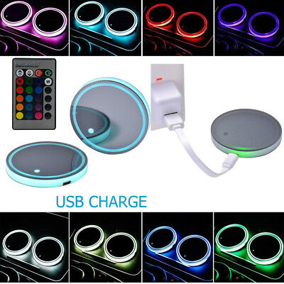 2X Solar USB LED 7 Color Cup Holder Power Car SUV Bottom Pad Mat Cover Trim Lamp