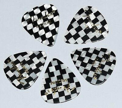 5  x  Fender Guitar Picks Black and White Checked 351 style Thin, Medium,  Heavy