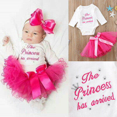 UK Stock Newborn Baby Girl Tutu Outfits Clothes Romper Bodysuit Playsuit +Skirts