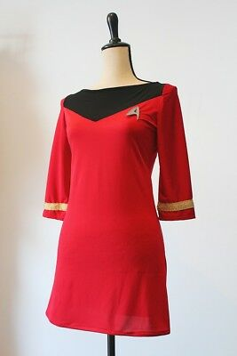 Star Trek Uniform Kleid S Hand Made, rot-schwarz mit Anstecker
