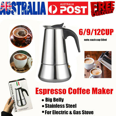 New 6/9/12 Cup Stainless Steel Espresso Maker Coffee Pot Percolator Stove Top
