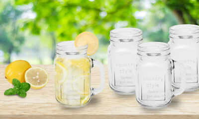 Set of 4 Mason Clear Glass Jars, Drinking Cocktail Mugs with Handle - 450ml