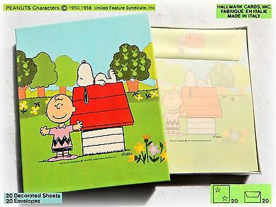 🌻 SNOOPY Charlie Brown VINTAGE stationery letter set papel papeis 1980 20☐ 20✉