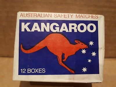 Vintage KANGAROO MATCHES PACK OF 12 BOXES UNOPENED Made in Australia