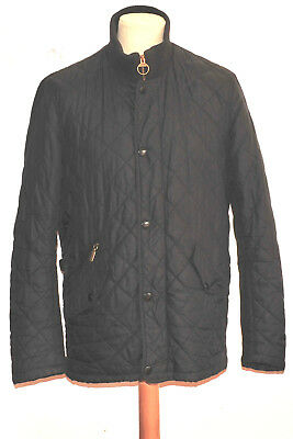 Barbour Chelsea Rib Neck Quilted Jacket M Black