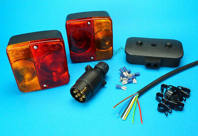 Trailer Light Kit - 2 x Lamps 5m Cable & Clips TERMINALS 7 Pin Plug Junction Box