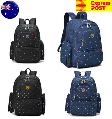 Waterproof Mummy Baby Backpack Diaper Nappy Changing Bag With Pram Clips