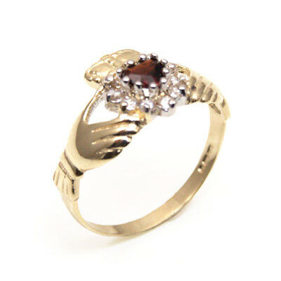 Claddagh Ring with Garnet & Diamond Unique Heart Ring 9ct Gold (CL20)