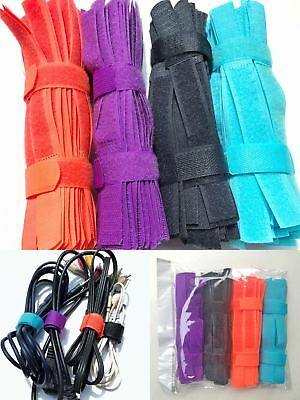 Pack 50,200pcs 180mmx 20mm Cable Cord Tie Strap Reusable Hook and Loop Fastening
