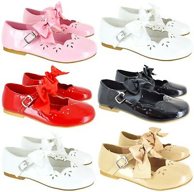 Kids Girls Flat Low Heel Children Bow Detail Strap Bow Party Bridesmaid Shoes Sz