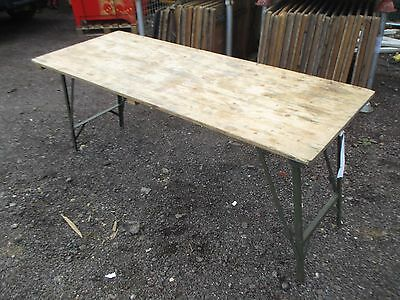 British Army 6ft Folding Legs Trestle Pine Table Military Industrial Cafe  Retro