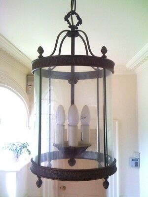 Traditional 4 Light metal Round glass Hall Ceiling Lantern, Antique brass style