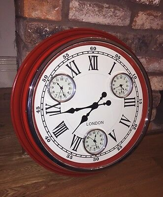 Large Red Vintage 1950's Style Multi Dial London Clock With White Face.