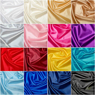 Plain Coloured Habotai Silk Lining Fabric 100% Polyester 145cm Wide FREE P&P