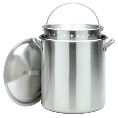 120 Quart Commercial Cajun-Style Stockpot with Perforated Basket and Vented Lid