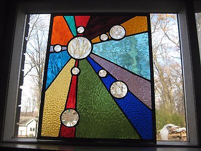 Beautiful Rays of Color Stained Glass Panel Window Suncatcher OOAK